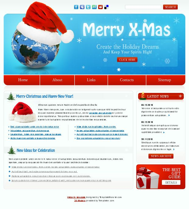 Новогодний шаблон сайта скачать